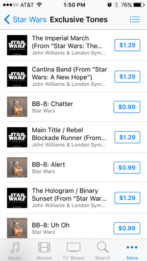 Image of Star Wars exclusive ringtones in the iTunes store