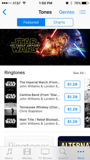 Image of Star Wars banner in the Featured section