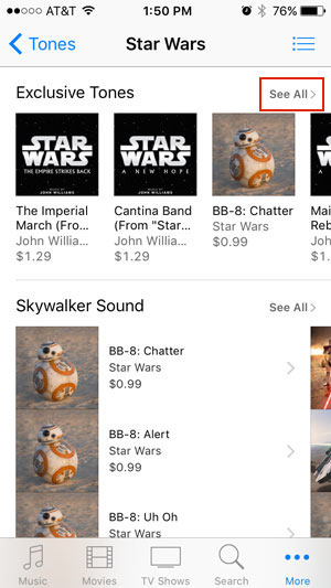 Image of Star Wars ringtones with See All highlighted